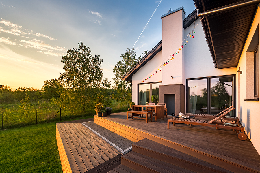 Modern house with patio and functional outdoor furniture